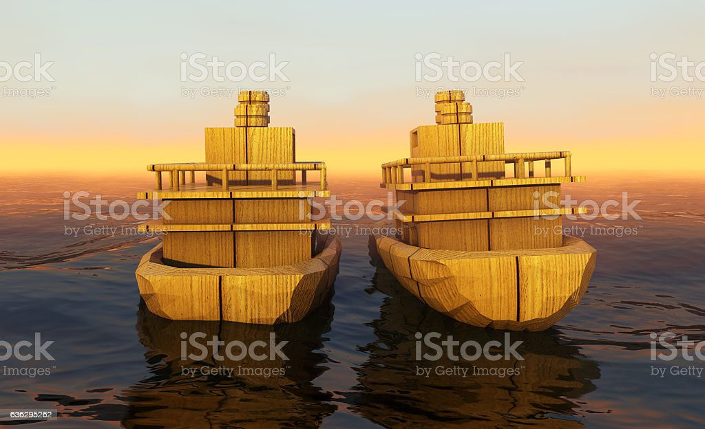 ship in the vast ocean with small waves stock photo
