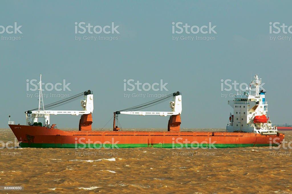 Ship in the Yellow Sea stock photo