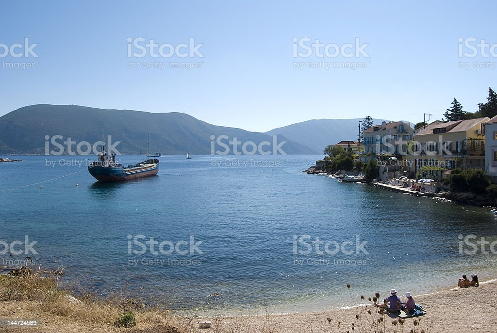 Ship in Tranquil Bay royalty-free stock photo