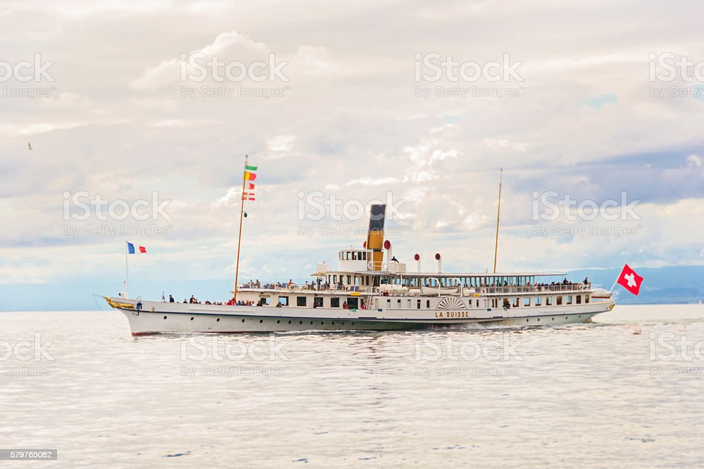 Ship in Vevey stock photo