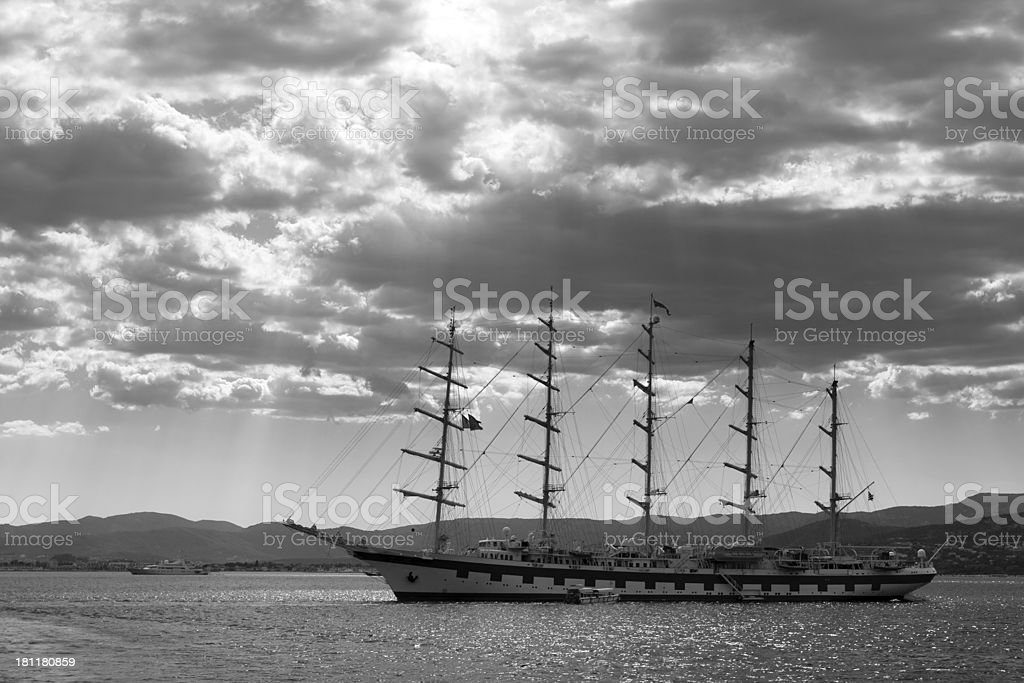Ship in waters of the Cote d'Azur royalty-free stock photo