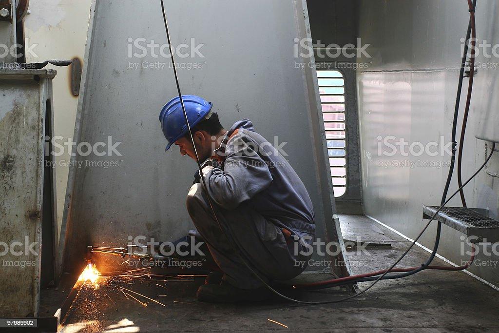 ship interior welding stock photo
