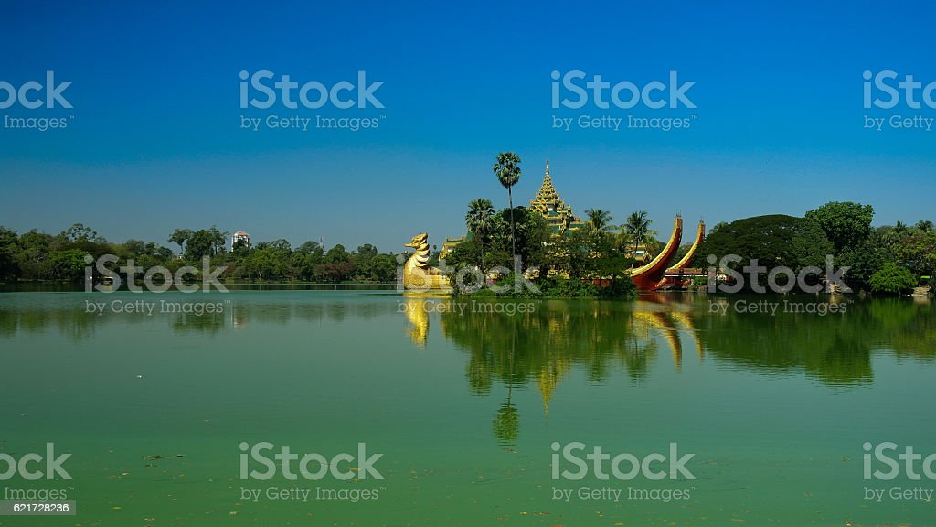 Ship Karaweik along Kandawgyi Lake's shores Yangon stock photo