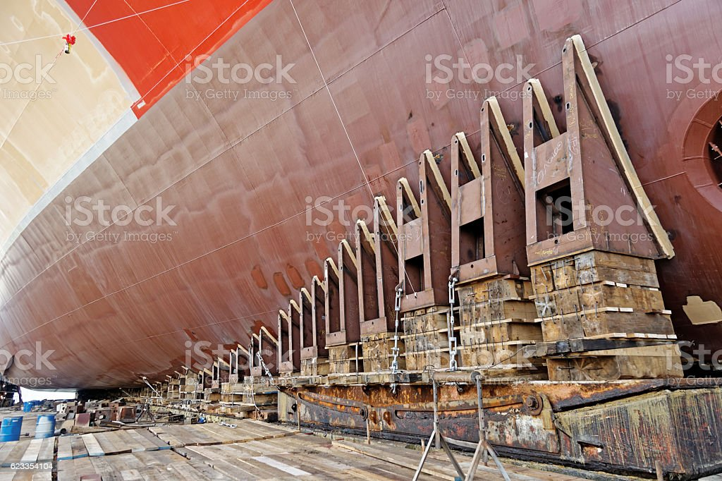 Ship launching stock photo