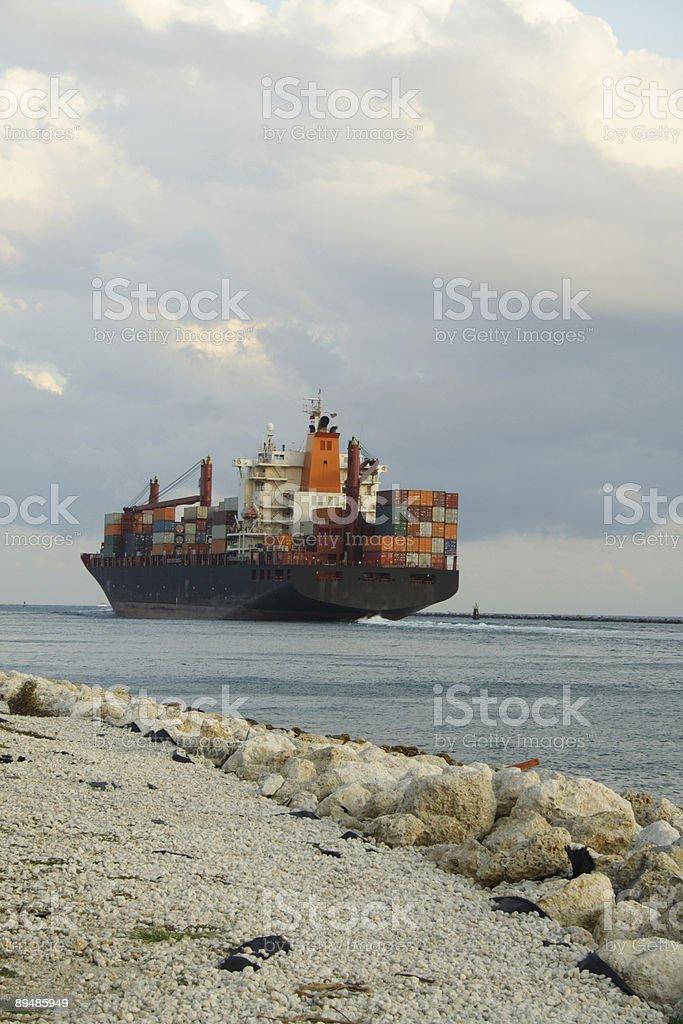 Ship Leaving Port stock photo
