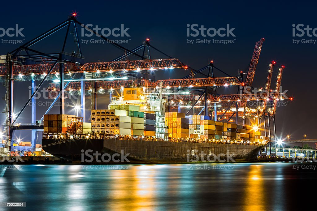 Ship loaded in New York container terminal stock photo