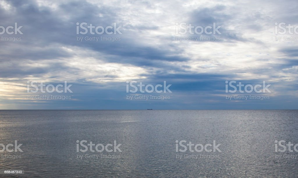 Ship lying in the roads in the Black Sea. stock photo