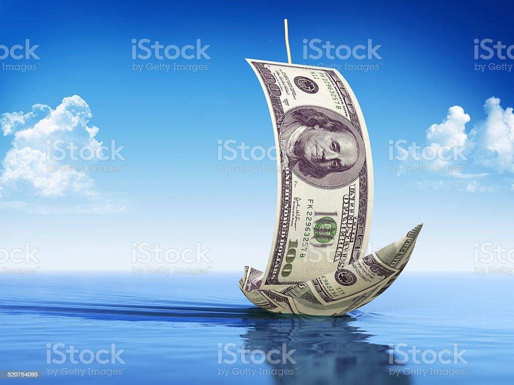 Ship made of Dollars stock photo