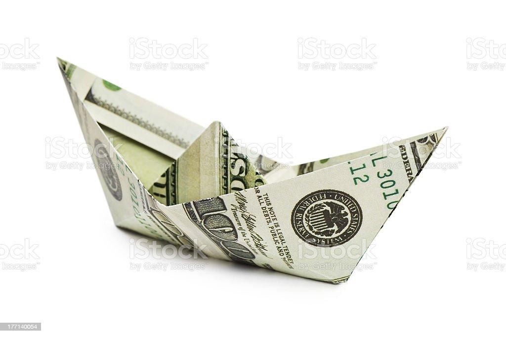 Ship made of money stock photo