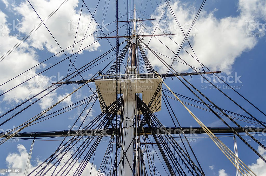 Ship Mast against a blue sky royalty-free stock photo