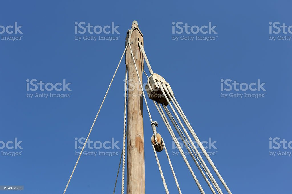 Ship mast of a dhow, Katar stock photo