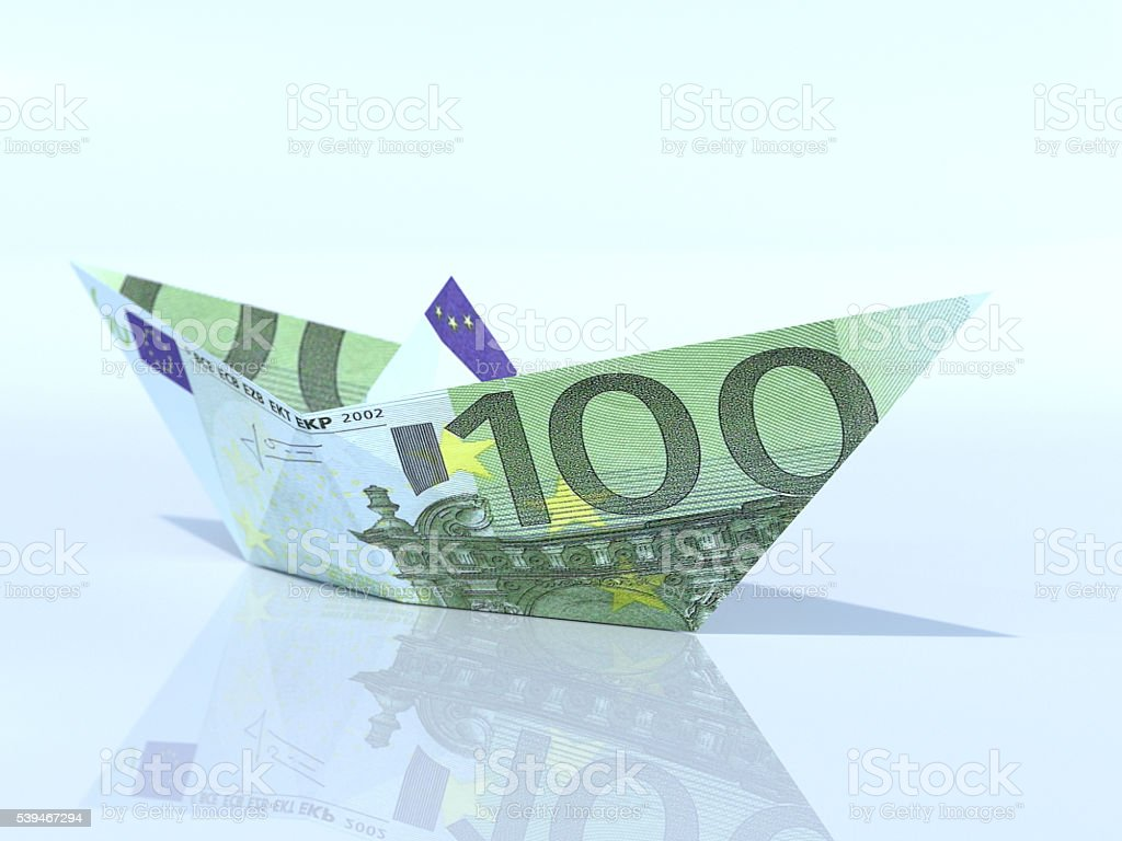 Ship model made out of Euro banknote royalty-free stock photo