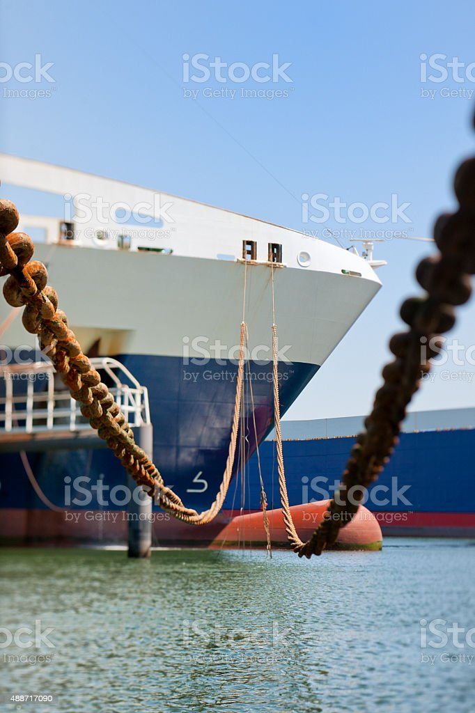 ship moored in harbor stock photo