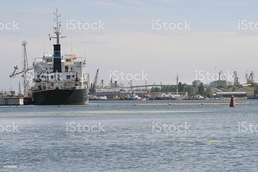 Ship moored in the port royalty-free stock photo