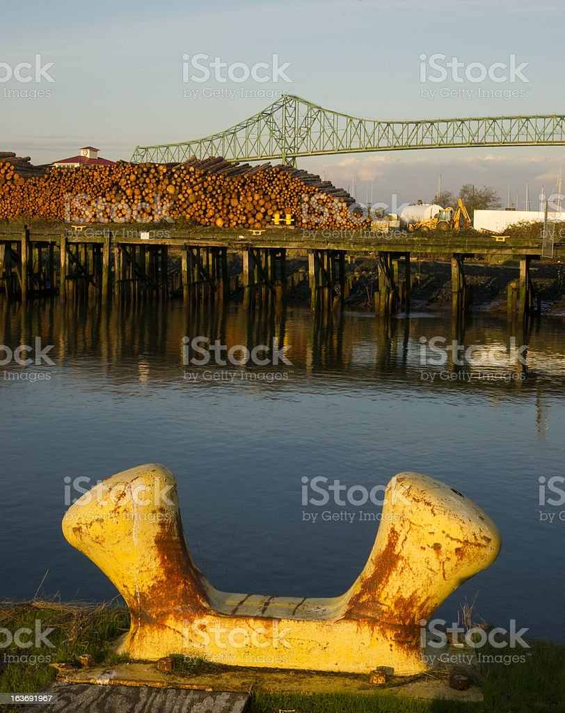 Ship Mooring Next to Logging Pier Columbia River Astoria royalty-free stock photo