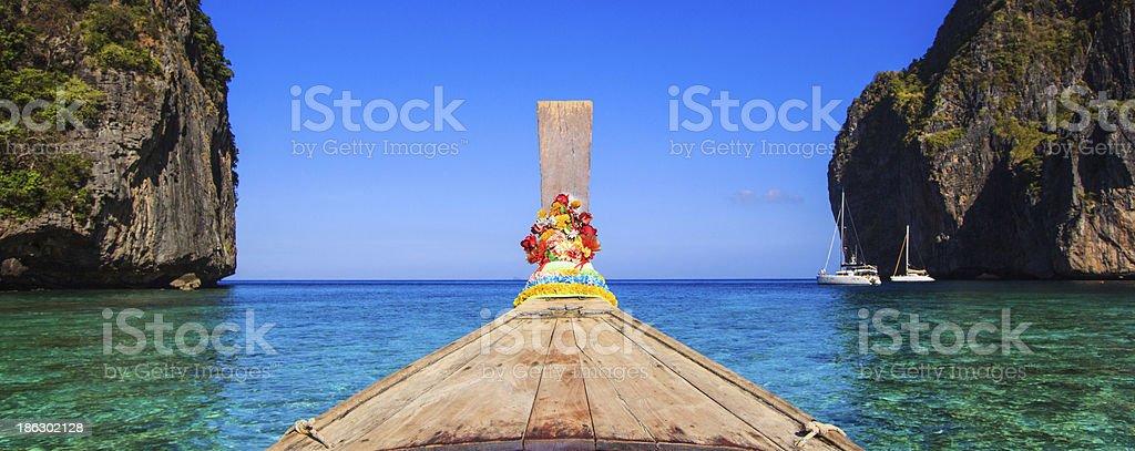 Ship Nose Front View Long tail boat at sea Thailand royalty-free stock photo