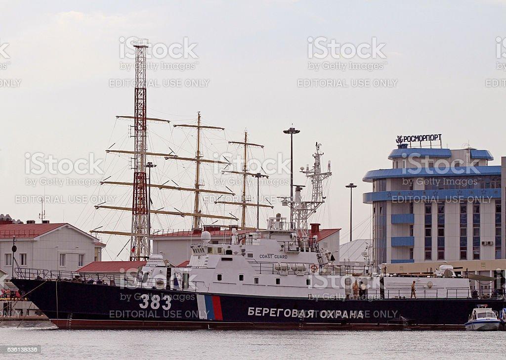 ship of coastguard in Sochi, Russia stock photo
