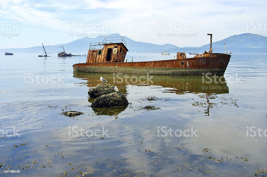 Ship old ruined royalty-free stock photo