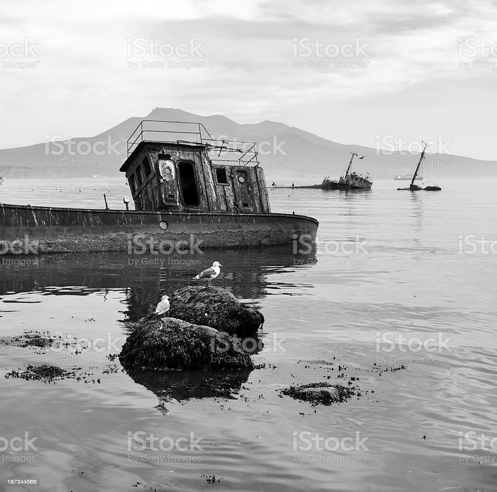 Ship old ruined stock photo