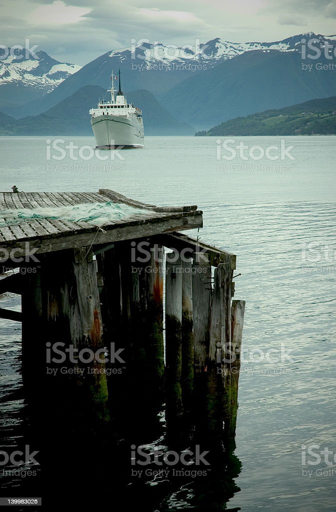 ship on a fjord royalty-free stock photo