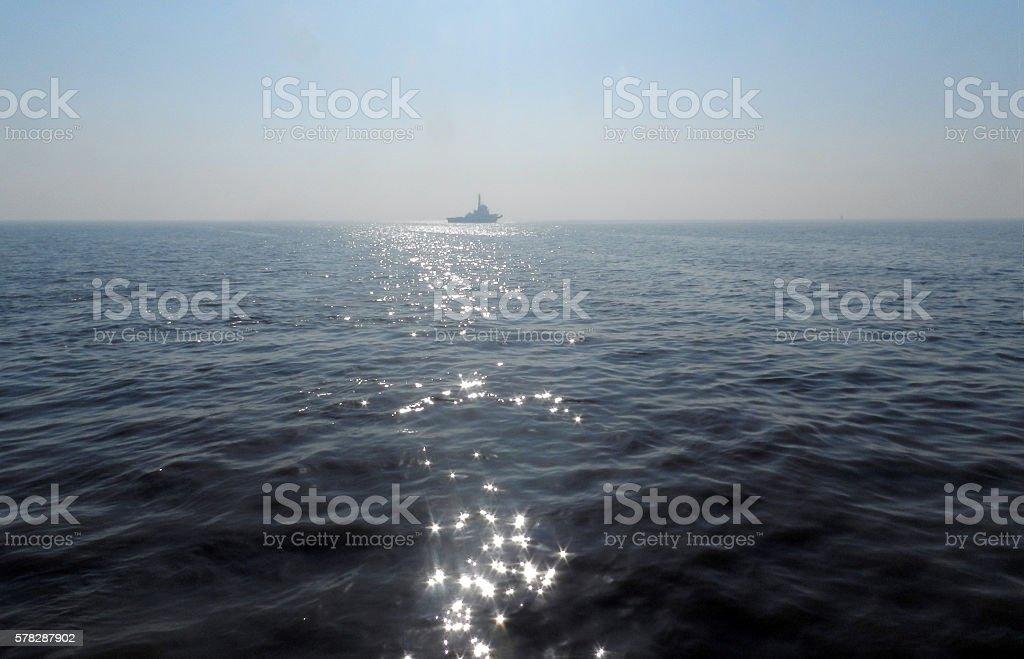 Ship on Arabian Sea. stock photo