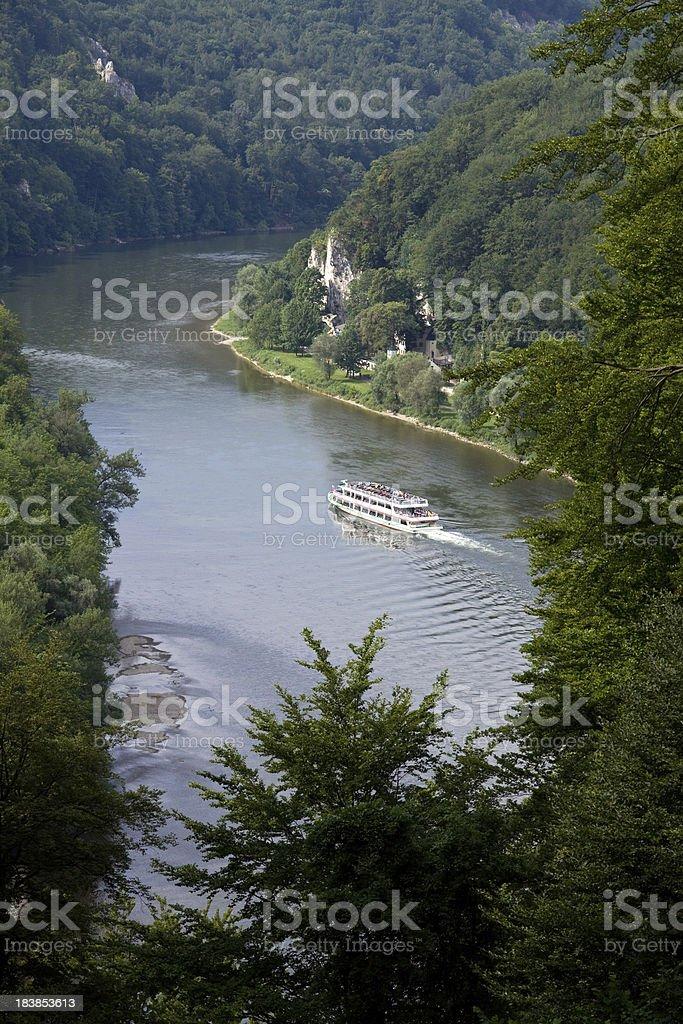 ship on danube river stock photo