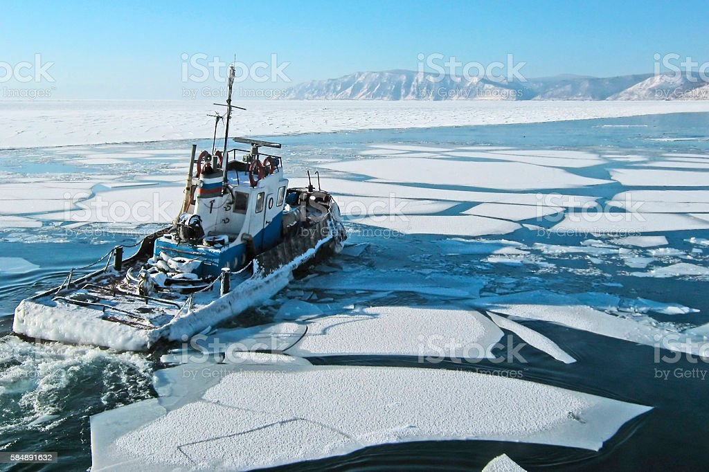 Ship on lake Baikal. Listvyanka. stock photo