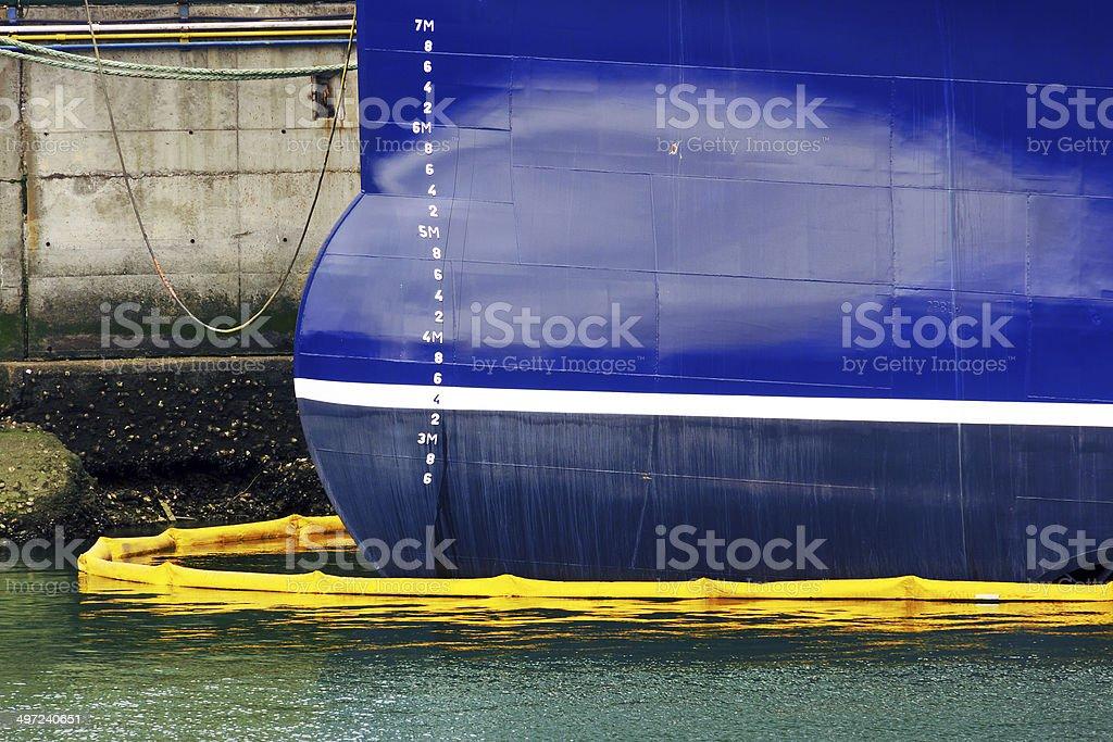 ship on port refueling stock photo