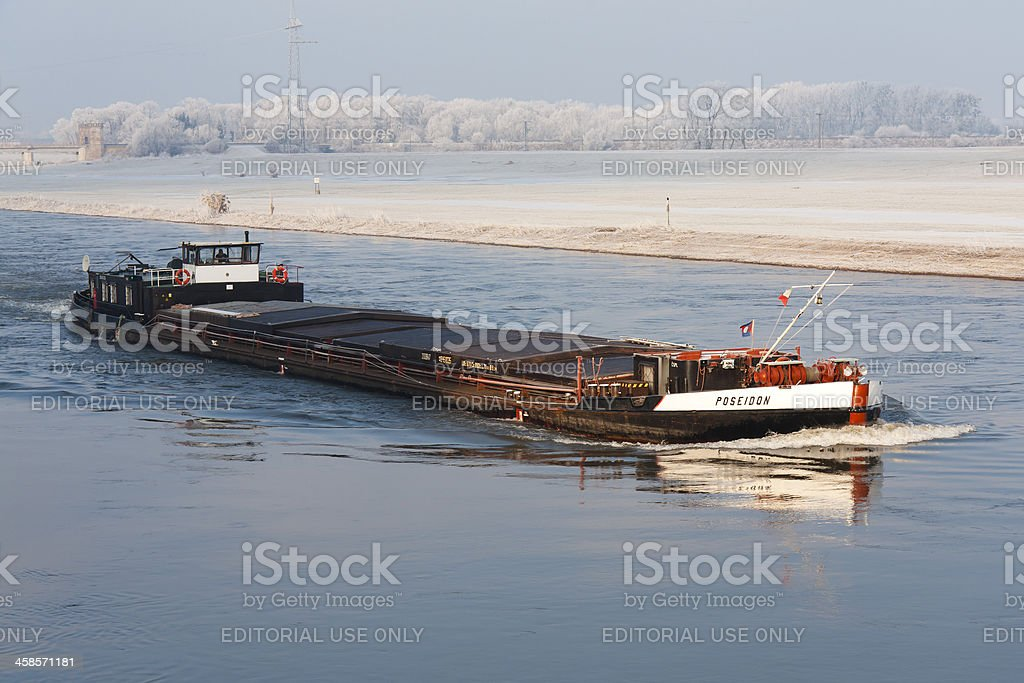 Ship on the Elbe River, near Torgau (Germany) stock photo