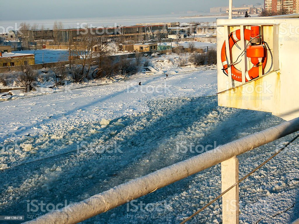 Ship on the Frosted Sea at St Petersburg stock photo