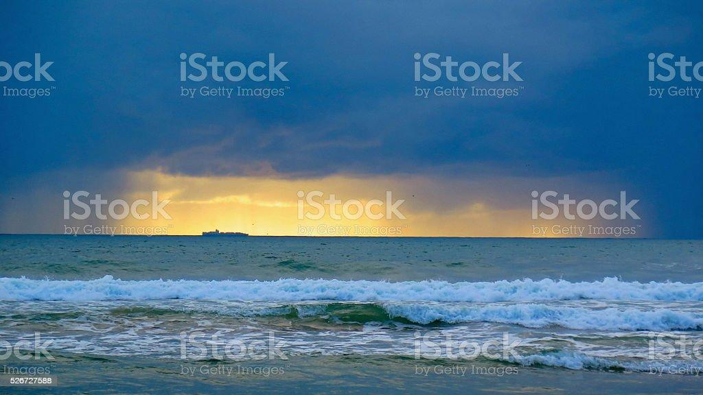 Ship on the Horizon stock photo