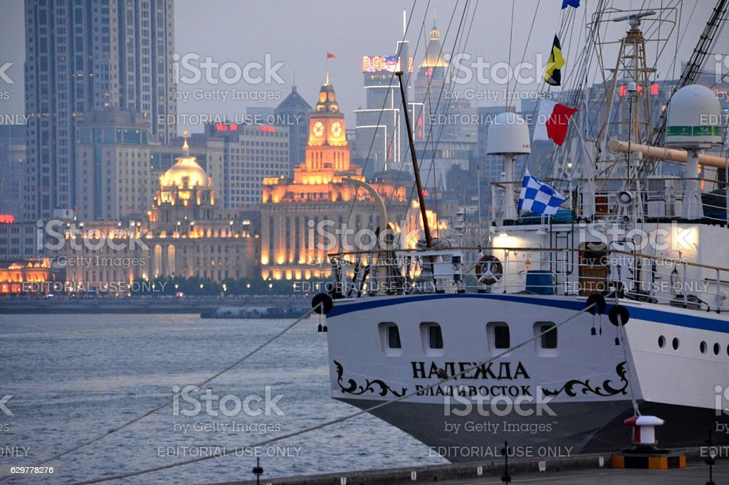 Ship on the Huangpu River in Shanghai, China stock photo