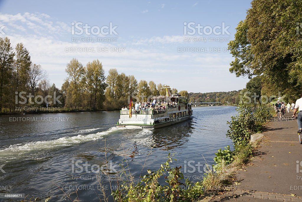 ship on the river Ruhr stock photo