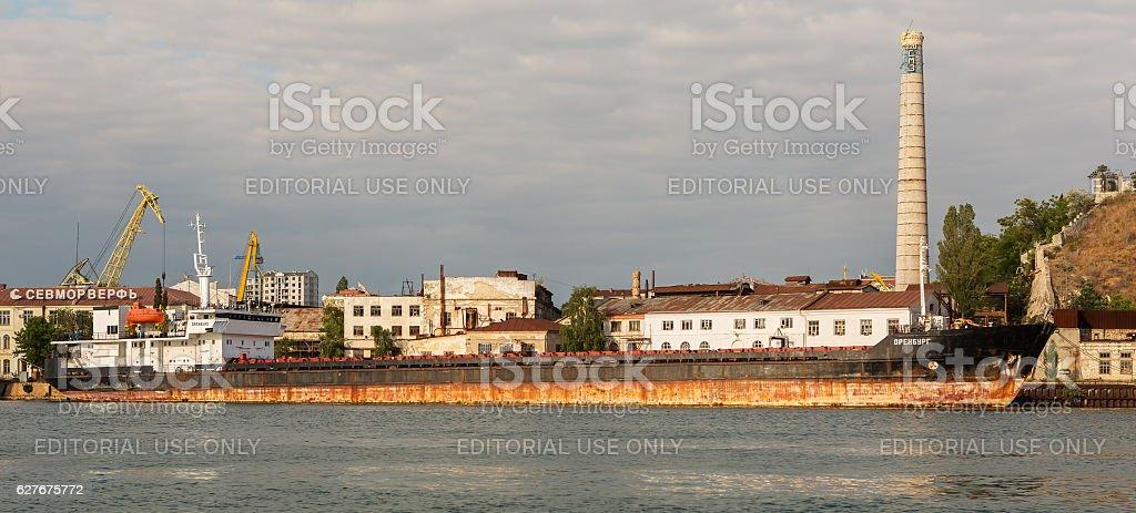 Ship Orenburg in the Bay of Black Sea. stock photo