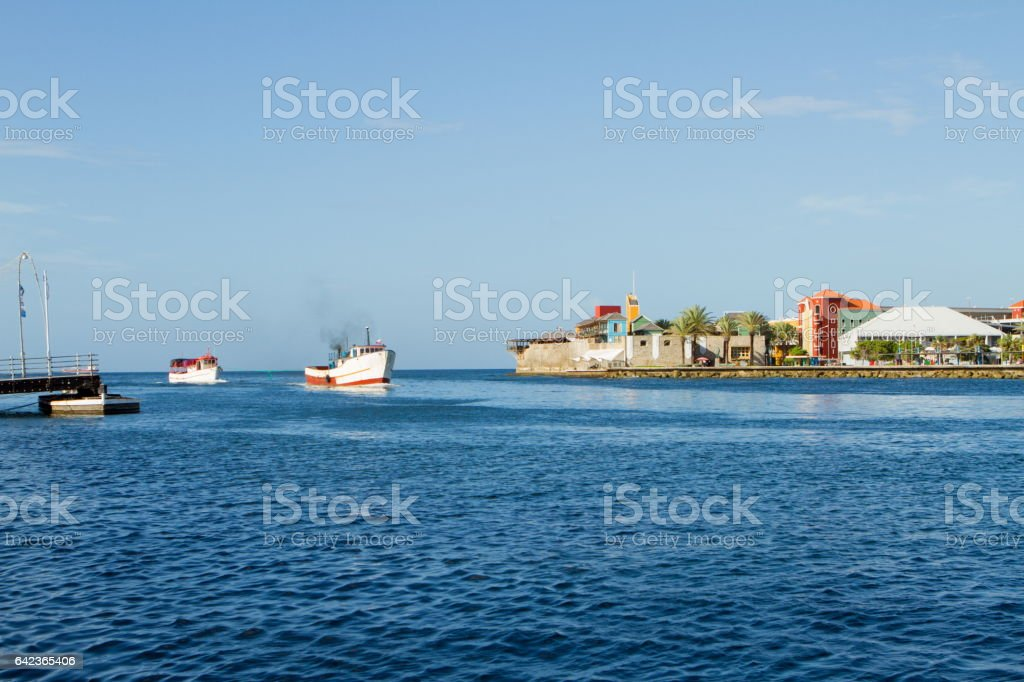 Ship Passing St. Anna Bay in Curacao stock photo