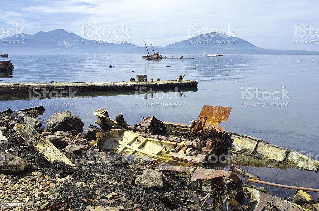 Ship pier ruined royalty-free stock photo