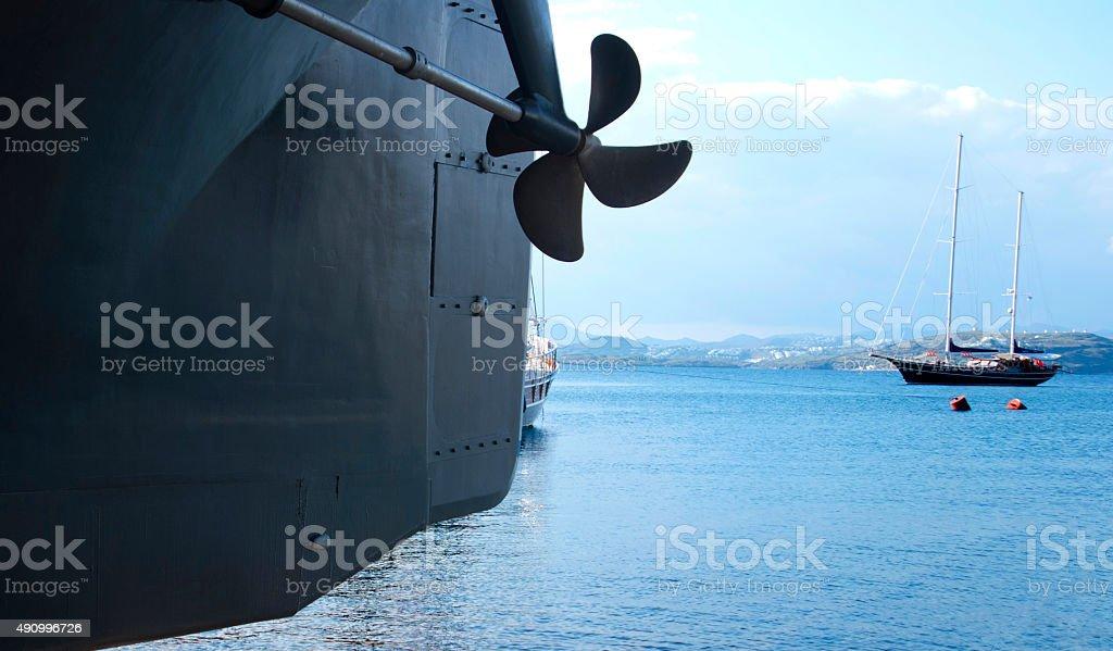 Ship propeller stock photo