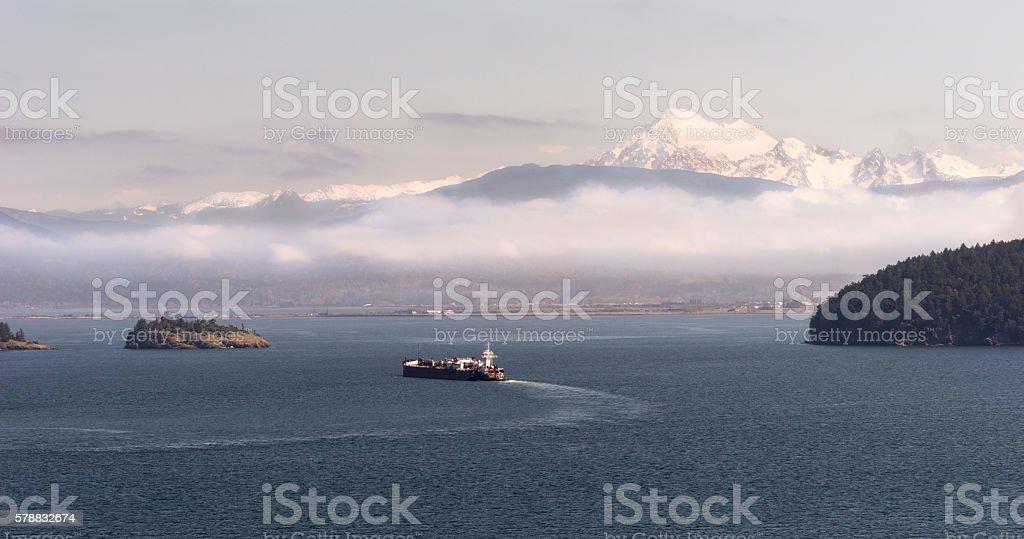 Ship Puget Sound Pacific Ocean Mt Baker Oil Tanker stock photo