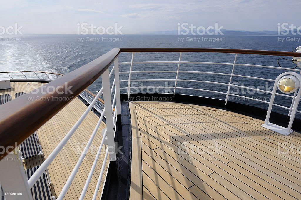 Ship railing and deck. royalty-free stock photo