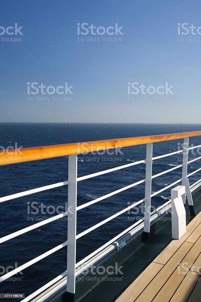 Ship Railing And Ocean royalty-free stock photo