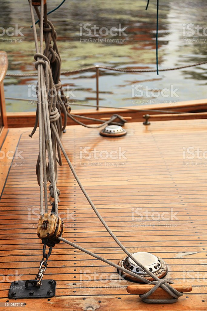 Ship rigging on old yacht royalty-free stock photo