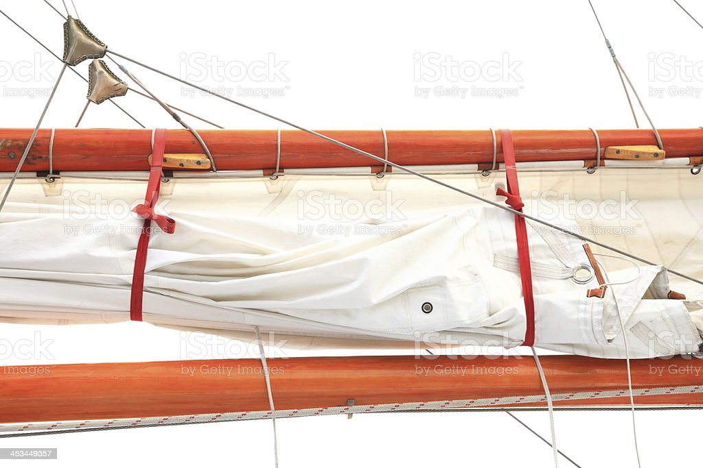 Ship rigging on old yacht stock photo