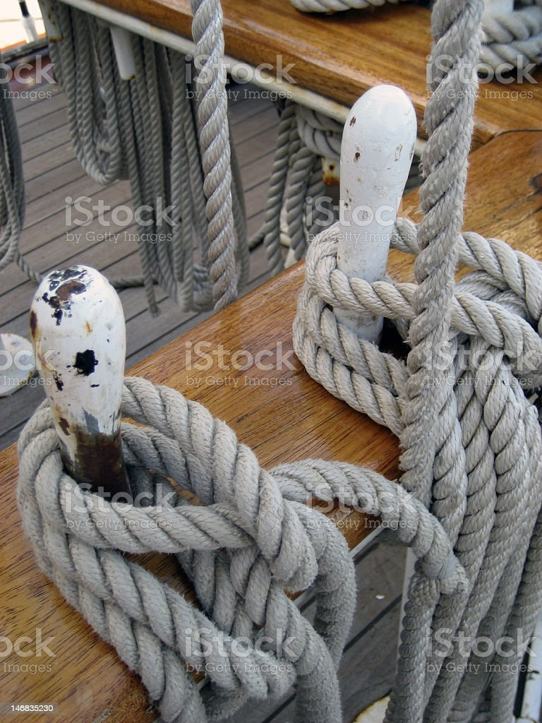 Ship ropes stock photo