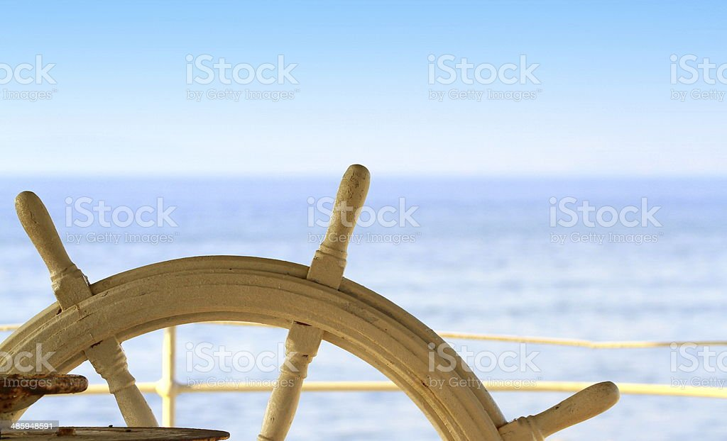 Ship rudder and sea stock photo