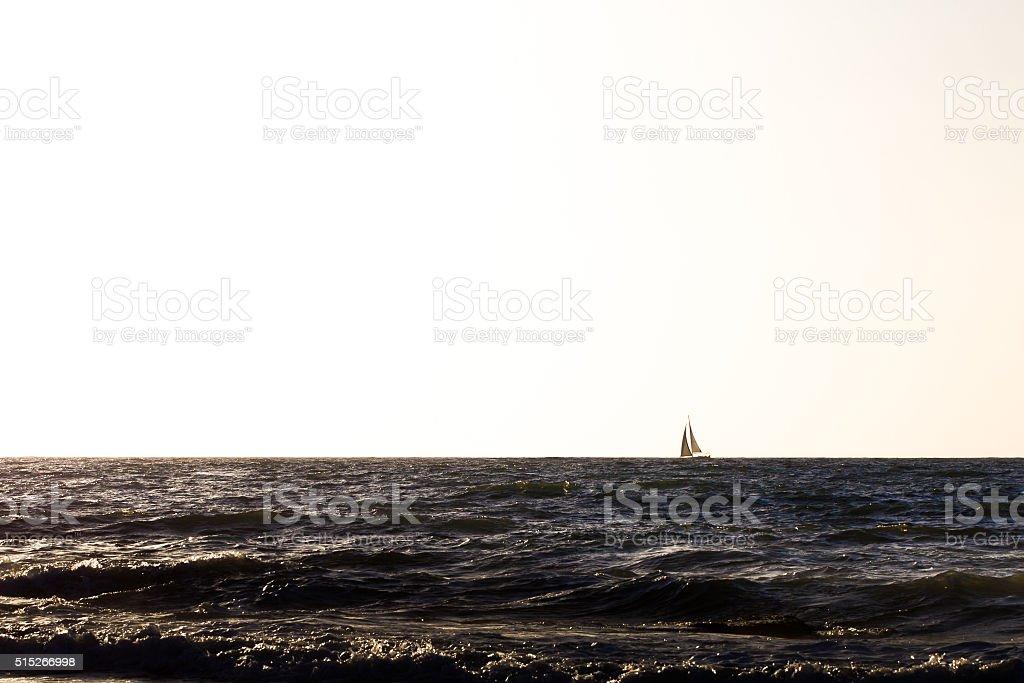 Ship sail vessel sea sunset. stock photo