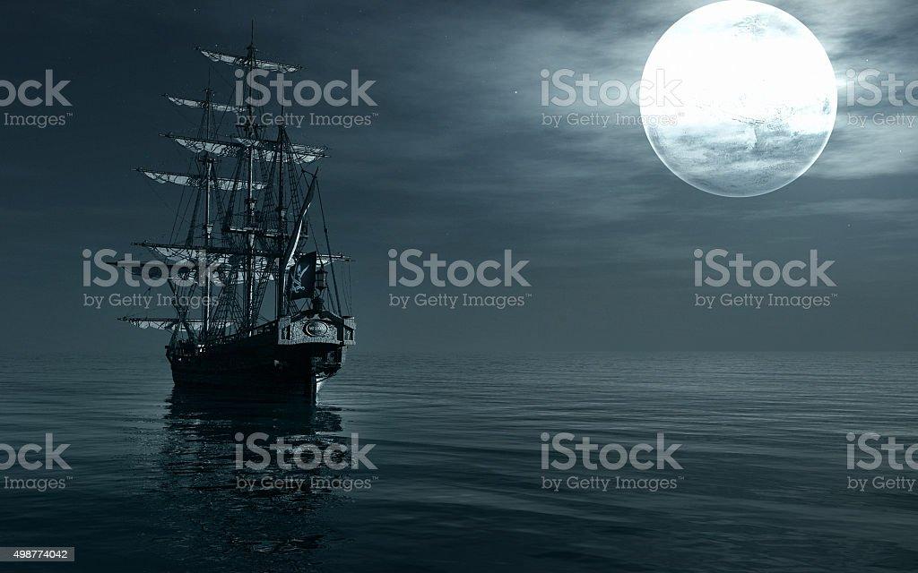 Ship sailing at night vector art illustration