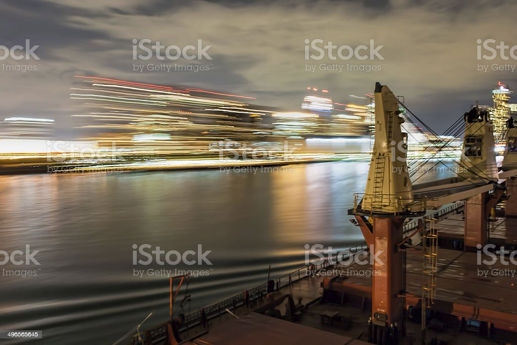 Ship Sailing Detroit Canal in Usa stock photo