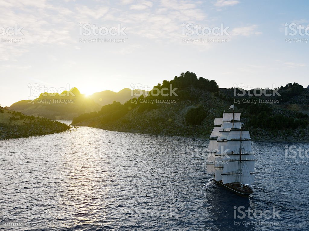 Ship sailing in rough seas close up on sunset background stock photo