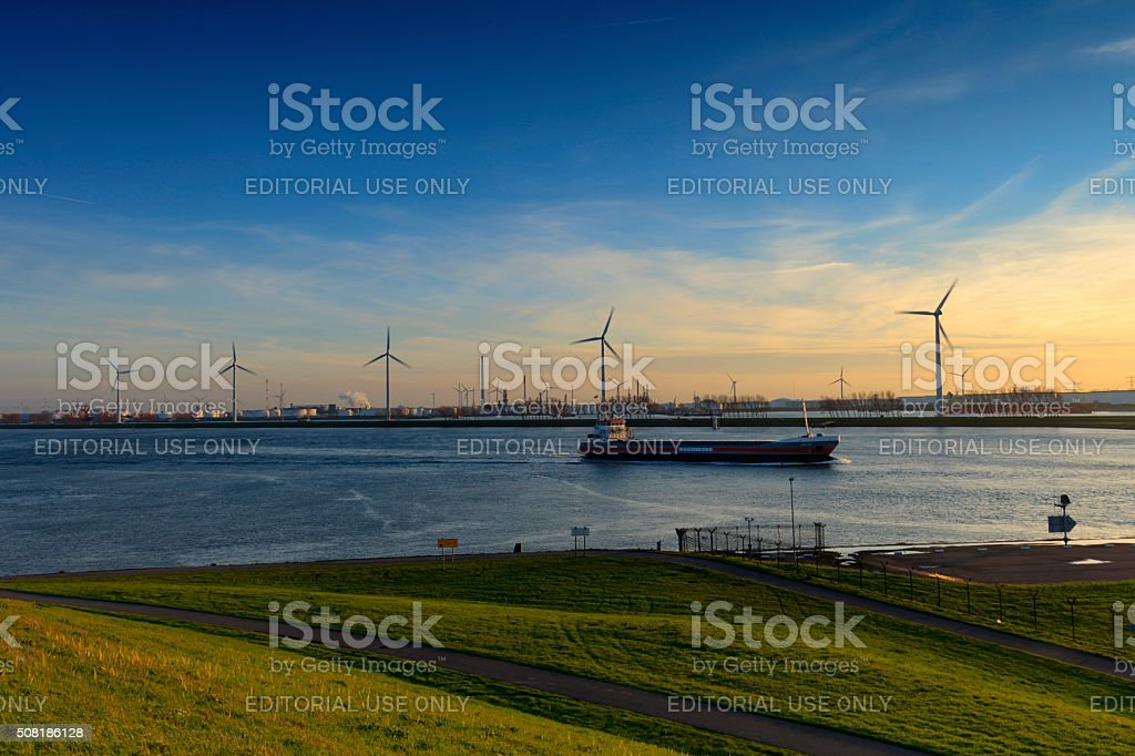 ship sailing over the Nieuwe Waterweg river stock photo
