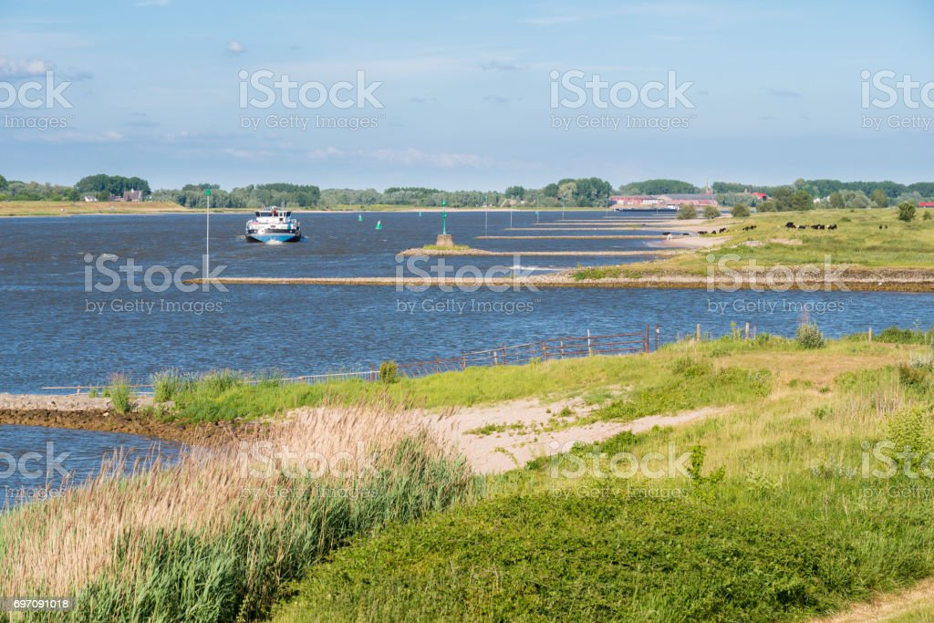 Ship sailing upstream along groynes on Waal river, Netherlands stock photo